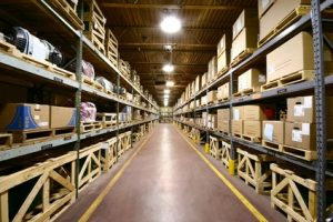 Warehouse with stock of security products