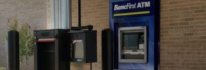 drive up banking kiosk and atm at bancfirst installed by black mesa security