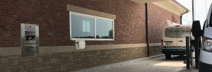 drive up window with service tray and after hours depository