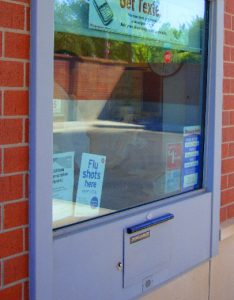 Pharmacy drive-up window installed by black mesa security